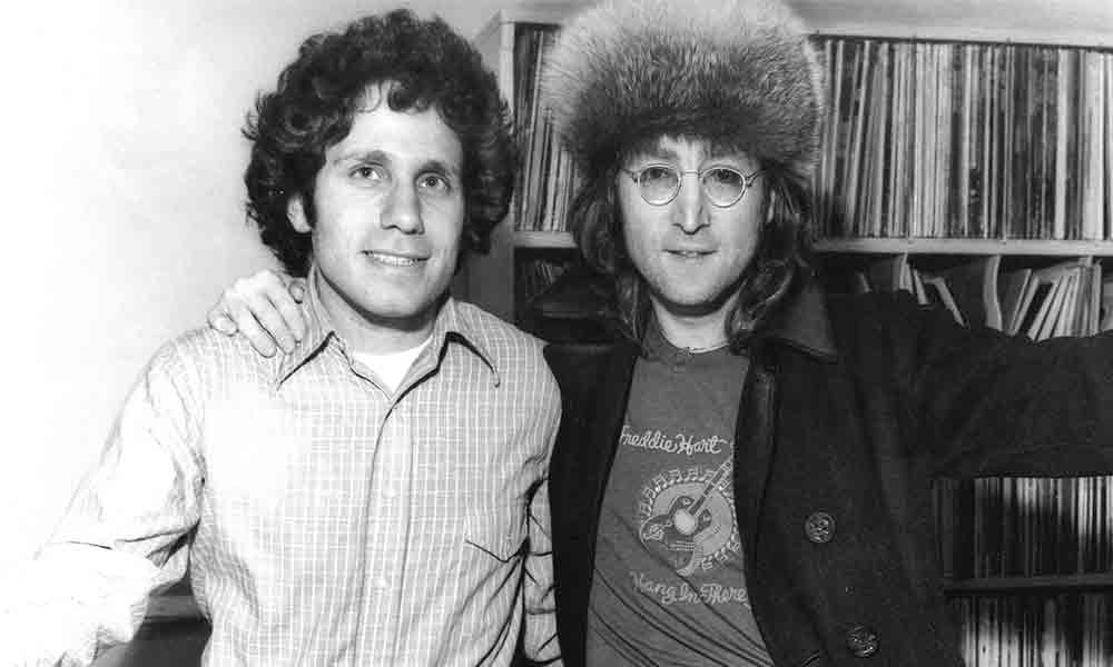 John Lennon drops in on Dennis Elsas at WNEW-FM in NYC. Image from Dennis Elsas' website.